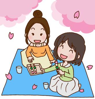 Sakura / Hanami / Three color dumplings / Dumplings from flowers