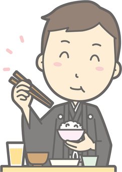 Groom kimono - delicious Japanese food - bust