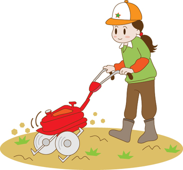 A woman using a cultivator