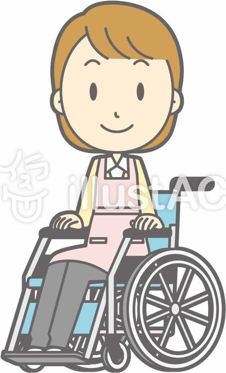 エプロン主婦-車椅子笑顔-全身のイラスト