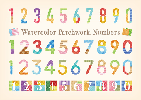 Watercolor touch patchwork pattern number