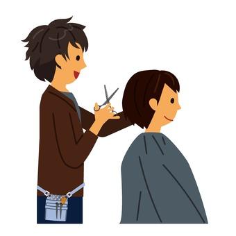 Beautician cutting
