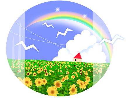 A sunflower field illustration