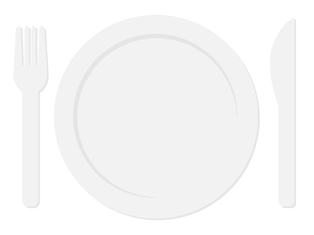 Knife and fork and plate gray