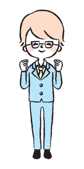 Illustration of men wearing glasses having a guts pose