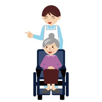 (Working Male / Nursing Care Series) Nurse and Wheelchair