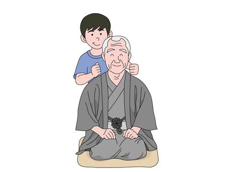Grandfather hit the grandson's shoulder