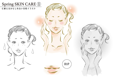 Spring Skin Care 1 Female Illustration