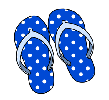 Beach sandals and blue dots