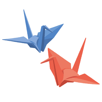 Folded crane red and blue