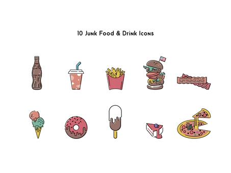 Junk food icon set