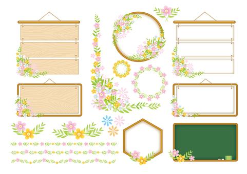 Çiçek dekorasyon çerçevesi çeşitli