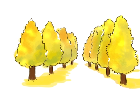 Ginkgo row of trees watercolor