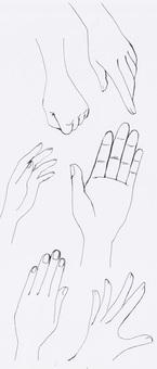 Various left hand (monochrome)