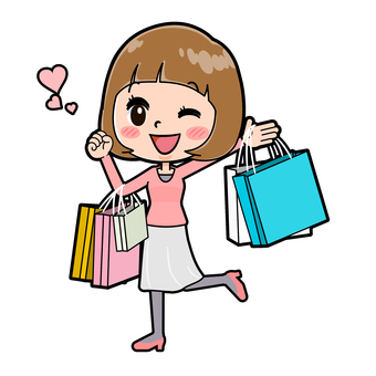 Pink clothes young woman shopping