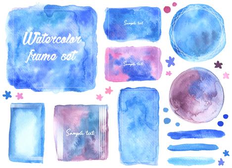 Watercolor blue frame set