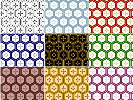 ai Japanese Pattern Pattern Tortoiseshell Floral Background 9 Set