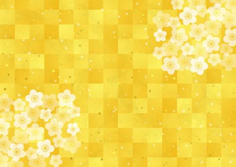 ภาพพื้นหลังใบไม้สีทองและดอกพลัม