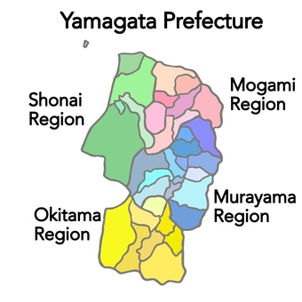 Yamagata prefecture regional map English version