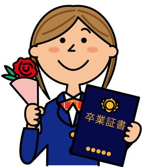 Girls high school students graduating