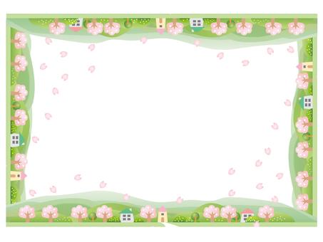 Landscape frame of cherry blossom trees