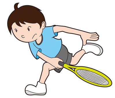Tennis boy hitting a serve