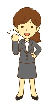 Guts pose female office worker