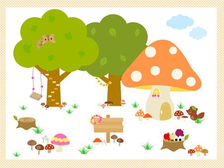 Autumn mushroom material