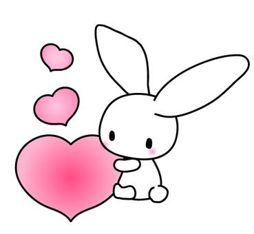 하트 안음 토끼