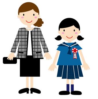 入學典禮的母親和女兒