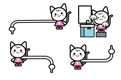 단순 고양이 캐릭터 세트 - 체크