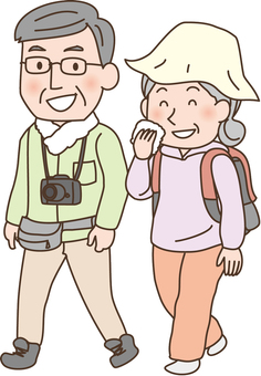 Elderly people lively walk