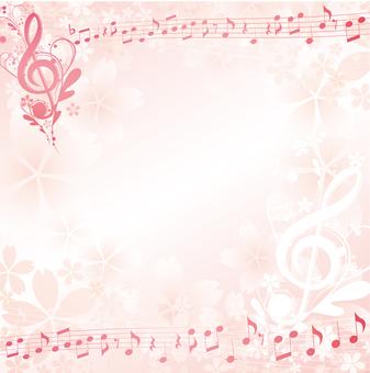 벚꽃이있는 우아한 음표 프레임 사각형