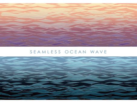 Seamless water surface sunset and night set