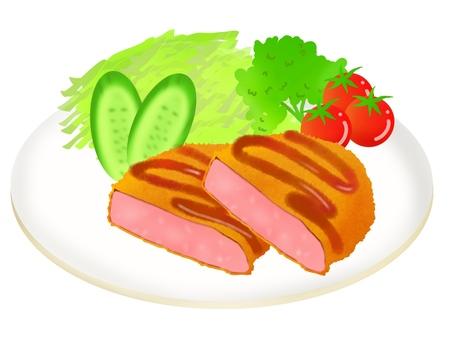 火腿肉餅盤