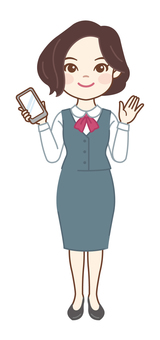 OL holding a smartphone