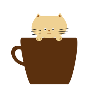 Brown cat and coffee cup