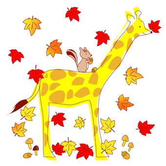Autumn giraffe and squirrel