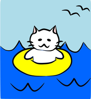 Nyanko floating on floating rings