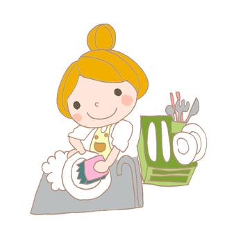 A dish-washing housewife