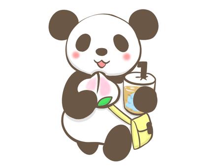 食べ歩きをするパンダ