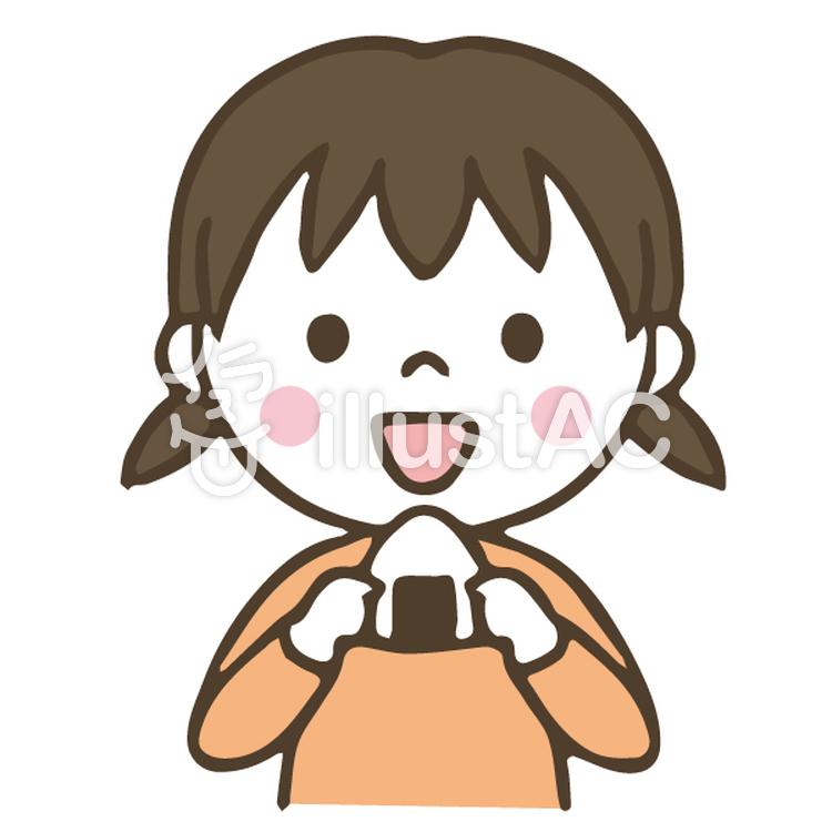 おにぎりを食べるかわいい女の子手描きイラスト No 1364580無料
