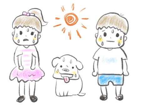 연필 일러스트 더운 여름