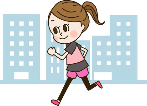 거리에서 달리기를하는 여성