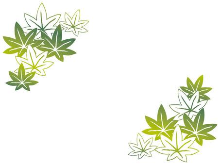 Autumn material (autumn leaves 2 green · corner)