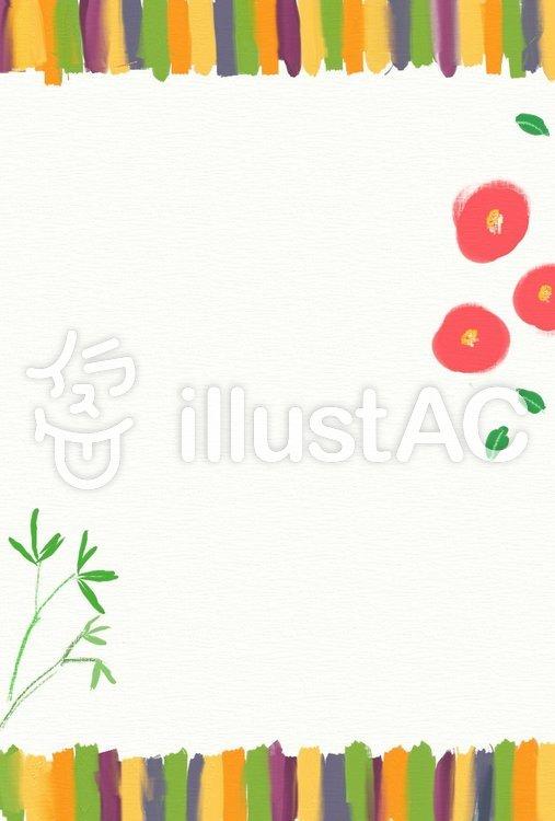ハガキ 定式幕 椿と竹のイラスト