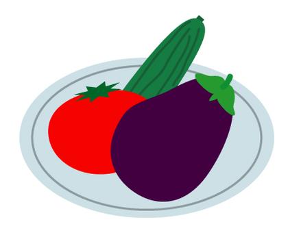 Vegetable eggplant, tomato, cucumber