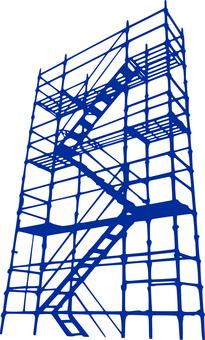 Scaffolding _ silhouette _ blue