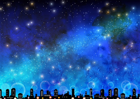 Watercolor style cityscape and starry sky background
