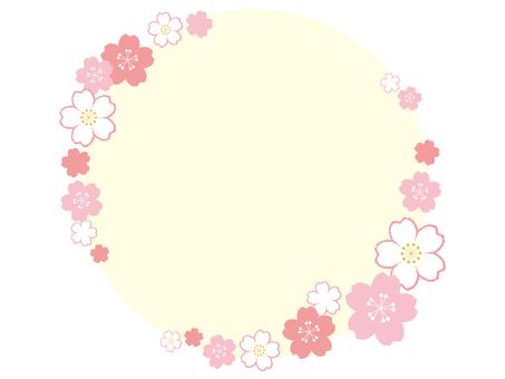 Fluffy Cherry Blossom Frame 05 [Circle / Transparent Window]